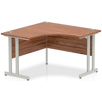 Impulse Call Centre Desk, 1200mmx1200mm, Silvers Legs, Walnut