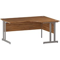 Impulse Corner Desk, Right Hand, 1600mm Wide, Silver Legs, Walnut