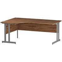 Impulse Corner Desk, Left Hand, 1800mm Wide, Silver Legs, Walnut