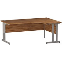 Impulse Corner Desk, Right Hand, 1800mm Wide, Silver Legs, Walnut