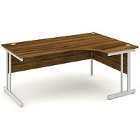 Impulse Corner Desk, Right Hand, 1800mm Wide, Silver Legs, Walnut, Installed