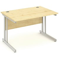 Impulse Rectangular Desk, 1200mm Wide, Maple, Installed