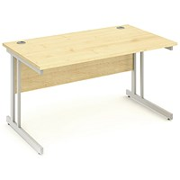 Impulse Rectangular Desk, 1400mm Wide, Maple, Installed