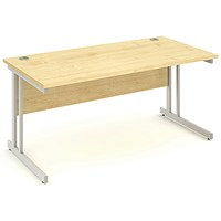 Impulse Rectangular Desk, 1600mm Wide, Maple, Installed