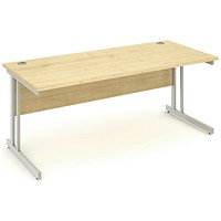 Impulse Rectangular Desk, 1800mm Wide, Maple, Installed