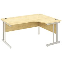 Impulse Corner Desk, Right Hand, 1600mm Wide, Silver Legs, Maple