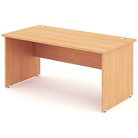 Impulse Panel End Desk, 1600mm Wide, Beech, Installed