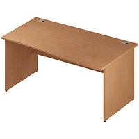 Impulse Panel End Wave Desk, Right Hand, 1600mm Wide, Beech