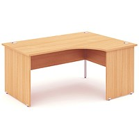 Impulse Panel End Corner Desk, Right Hand, 1600mm Wide, Beech, Installed