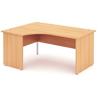 Impulse Panel End Corner Desk, Left Hand, 1800mm Wide, Beech, Installed