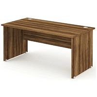 Impulse Panel End Desk, 1200mm Wide, Walnut, Installed