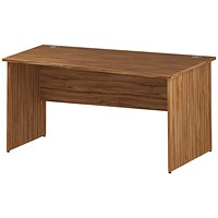 Impulse Panel End Wave Desk, Right Hand, 1600mm Wide, Walnut
