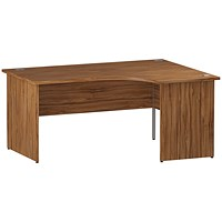 Impulse Panel End Corner Desk, Right Hand, 1600mm Wide, Walnut
