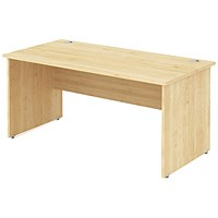 Impulse Panel End Desk, 1400mm Wide, Maple, Installed