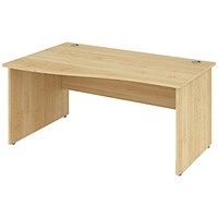 Impulse Panel End Wave Desk / Left Hand / 1400mm Wide / Maple / Installed