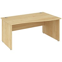 Impulse Panel End Wave Desk, Right Hand, 1400mm Wide, Maple, Installed