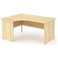 Impulse Panel End Corner Desk, Left Hand, 1600mm Wide, Maple, Installed
