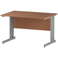 Impulse Plus Rectangular Desk, 1200mm Wide, Silver Cable Managed Legs, Beech