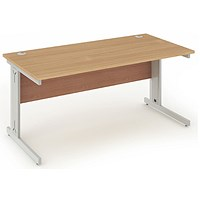 Impulse Plus Rectangular Desk, 1200mm Wide, Silver Cable Managed Legs, Beech, Installed