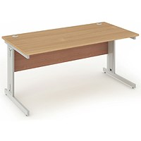 Impulse Plus Rectangular Desk, 1400mm Wide, Silver Cable Managed Legs, Beech, Installed
