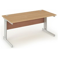 Impulse Plus Rectangular Desk, 1600mm Wide, Silver Cable Managed Legs, Beech, Installed