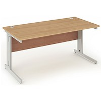 Impulse Plus Rectangular Desk, 1800mm Wide, Silver Cable Managed Legs, Beech, Installed