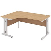 Impulse Plus Corner Desk, Left Hand, 1800mm Wide, Silver Cable Managed Legs, Beech, Installed