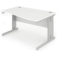 Impulse Plus Wave Desk, Right Hand, 1400mm Wide, White, Installed