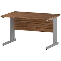 Impulse Plus Rectangular Desk, 1200mm Wide, Silver Cable Managed Legs, Walnut