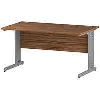 Impulse Plus Rectangular Desk, 1400mm Wide, Silver Cable Managed Legs, Walnut