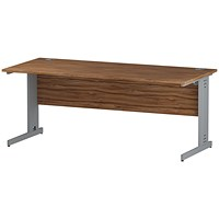 Impulse Plus Rectangular Desk, 1800mm Wide, Silver Cable Managed Legs, Walnut