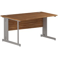 Impulse Plus Wave Desk, Left Hand, 1400mm Wide, Silver Cable Managed Legs, Walnut