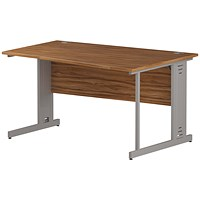 Impulse Plus Wave Desk, Right Hand, 1400mm Wide, Silver Cable Managed Legs, Walnut
