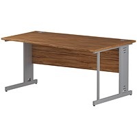Impulse Plus Wave Desk, Right Hand, 1600mm Wide, Silver Cable Managed Legs, Walnut