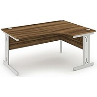 Impulse Plus Corner Desk, Right Hand, 1600mm Wide, Silver Cable Managed Legs, Walnut, Installed