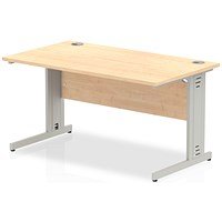 Impulse Plus Rectangular Desk, 1400mm Wide, Silver Cable Managed Legs, Maple
