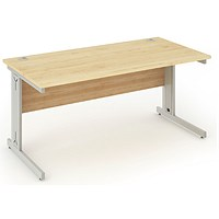 Impulse Plus Rectangular Desk, 1600mm Wide, Maple, Installed