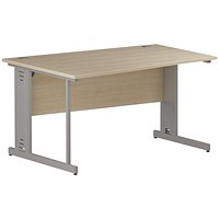 Impulse Plus Wave Desk, Left Hand, 1400mm Wide, Silver Cable Managed Legs, Maple