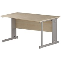 Impulse Plus Wave Desk, Right Hand, 1400mm Wide, Silver Cable Managed Legs, Maple