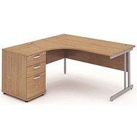Impulse Corner Desk with 600mm Pedestal, Left Hand, 1600mm Wide, Silver Legs, Beech