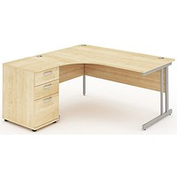Impulse Corner Desk with 600mm Pedestal, Left Hand, 1600mm Wide, Maple, Installed