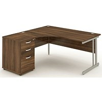 Impulse Corner Desk with 600mm Pedestal, Left Hand, 1800mm Wide, Silver Legs, Walnut