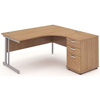 Impulse Corner Desk with 600mm Pedestal, Right Hand, 1600mm Wide, Silver Legs, Beech