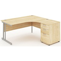 Impulse Corner Desk with 600mm Pedestal, Right Hand, 1600mm Wide, Silver Legs, Maple