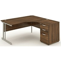 Impulse Corner Desk with 600mm Pedestal, Right Hand, 1800mm Wide, Silver Legs, Walnut