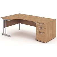 Impulse Corner Desk with 800mm Pedestal, Left Hand, 1600mm Wide, Silver Legs, Beech
