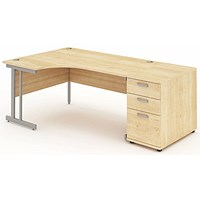 Impulse Corner Desk with 800mm Pedestal, Left Hand, 1600mm Wide, Maple, Installed