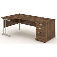 Impulse Corner Desk with 800mm Pedestal, Left Hand, 1800mm Wide, Silver Legs, Walnut
