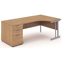 Impulse Corner Desk with 800mm Pedestal, Right Hand, 1600mm Wide, Silver Legs, Beech