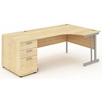 Impulse Corner Desk with 800mm Pedestal, Right Hand, 1600mm Wide, Silver Legs, Maple